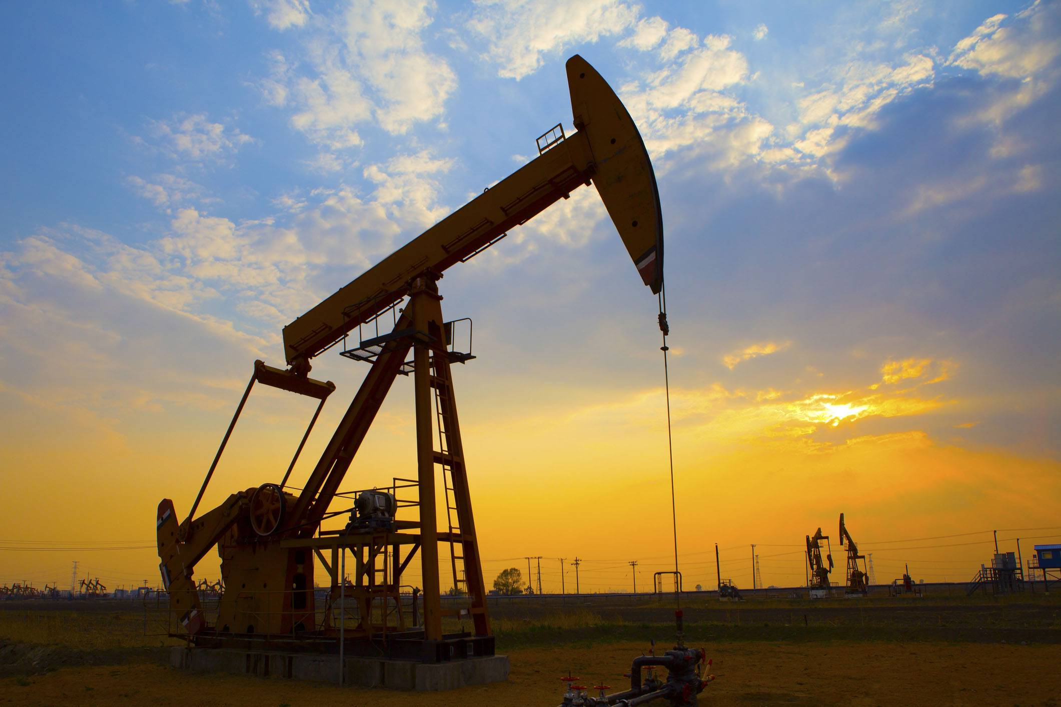 Oil drills pumping in the field